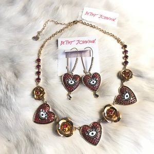 Betsy Johnson Heart Evil Eye Necklace & Earrings
